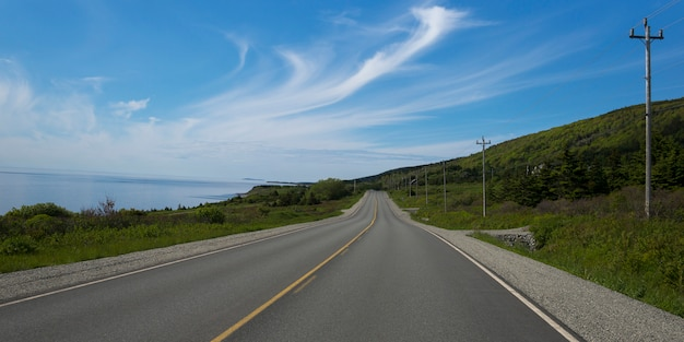 Scenic view of a coastal road, creignish, cape breton island, nova scotia, canada