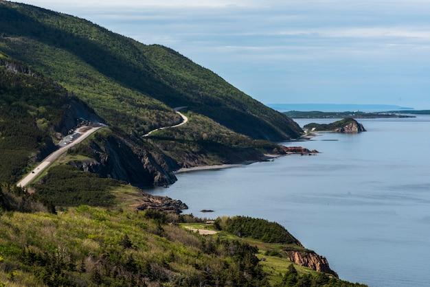 Scenic view of a coastal road, petit etang, cape breton highlands national park, cape breton island,