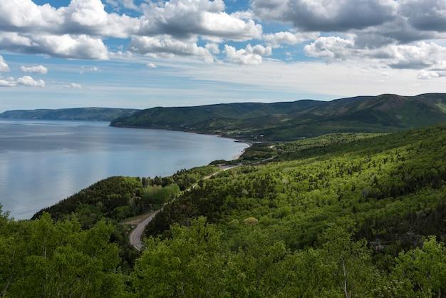 Scenic view of a coastal road, pleasant bay, cape breton highlands national park, cape breton island
