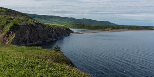 Scenic view of coastline, cabot trail, cape breton highlands national park, cape breton island, nova