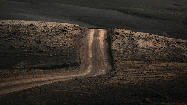 Scenic view of dirt road at highlands in iceland