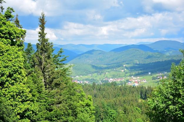 Живописный вид с горы на деревню между горами, покрытые летним лесом. вид издалека