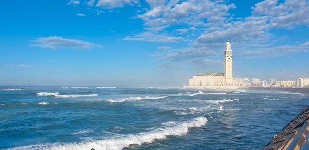 Scenic view of hassan ii mosque against blue sky