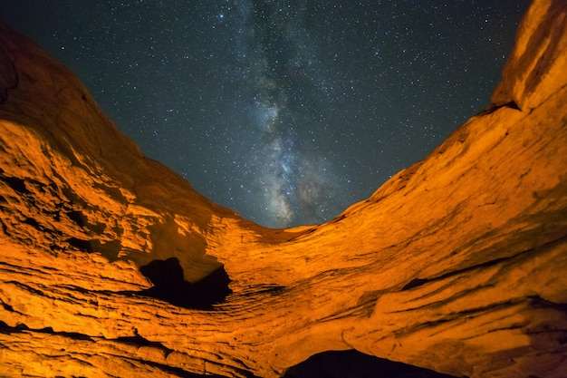 Scenic view of milkyway and stars at sam phan bok, ubon ratchathani, thailand , travel destinations concept