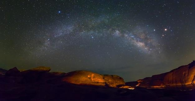 Scenic view of milkyway and stars at sam phan bok, ubon ratchathani, thailand
