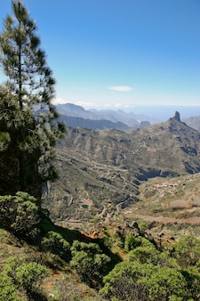 A scenic view of the mountains and valleys in gran canaria