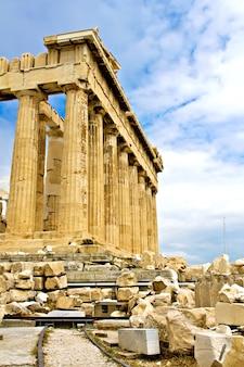 Живописный вид на храм парфенон, акрополь, афины, греция