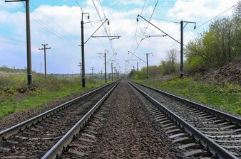 Scenic view of two railways going straight ahead through green field