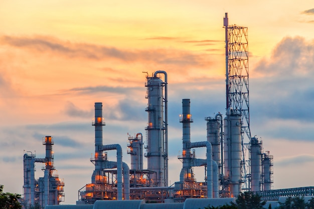 Scenic view of the oil refinery at sunrise