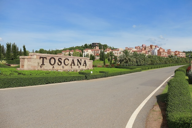 Scenic view of one hotel & resort town made of toscana valley theme in italian style