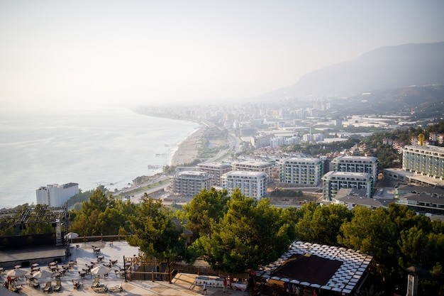 Scenic view of the sunny country, coastline in turkey, alanya city