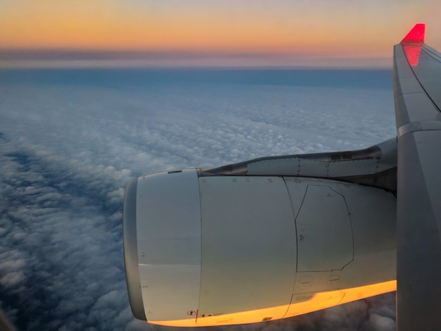 Scenic view at sunset from the airplane seat