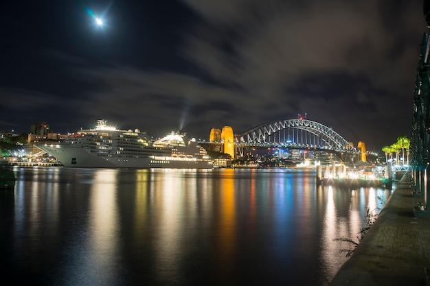 Scenic view of sydney harbor bridge in night time