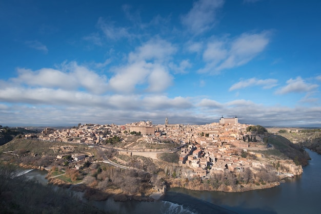 Scenic view of toledo medieval city skyline, spain.