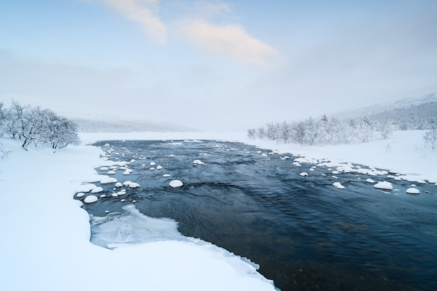Scenic view of winter river grovlan with snowcovered trees in the province of dalarna, sweden