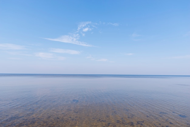 Scenics view of idyllic sea against blue sky