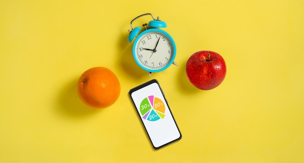 График правильного питания. концепция схемы питания диеты здорового питания. копировать пространство
