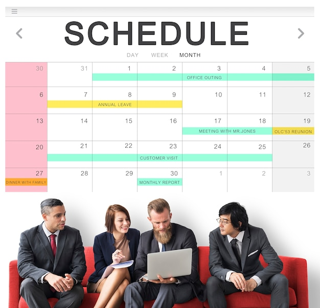 Schedule table event planner concept