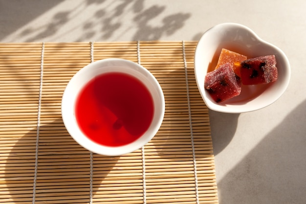 Schizandra tea is a traditional korean drink.