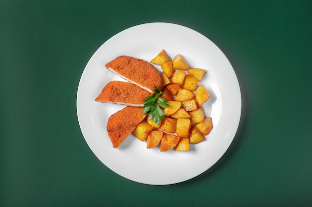 Schnitzel with potatoes for the menu