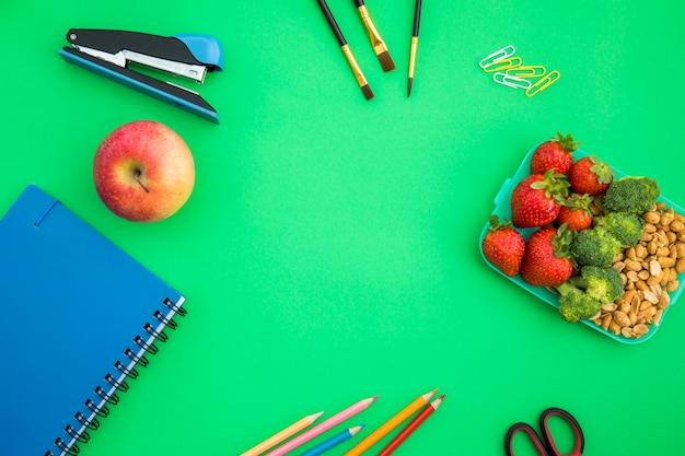 School accessories with lunchbox