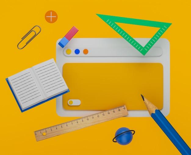 Школьные атрибуты и школьные принадлежности на желтом фоне. 3d-рендеринг.