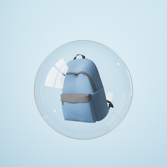 School backpack covered by a glass sphere with window reflections. concept of isolation, coronavirus and back to school. 3d render