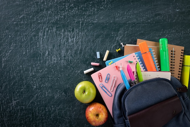 School backpack and school supplies with chalkboard background