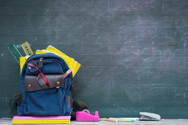 School backpack and school supplies with chalkboard background.