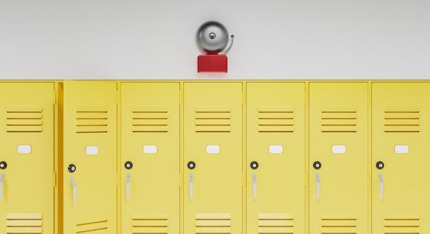 사물함 위의 학교 종 프리미엄 사진