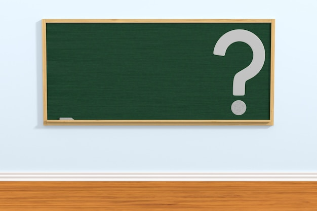 学校の黒板と教室での質問。 3dイラスト