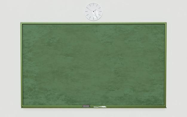 Школьная доска на белой стене с ластиком и мелом внизу и часами сверху. 3d рендеринг