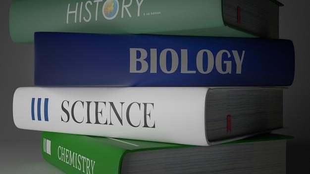 Школьные учебники, обратно в школу концепции 3d-рендеринга