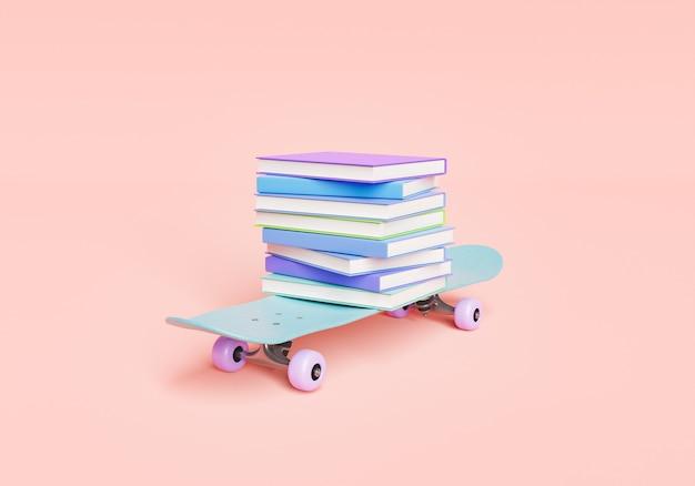 Школьные учебники на скейтборде