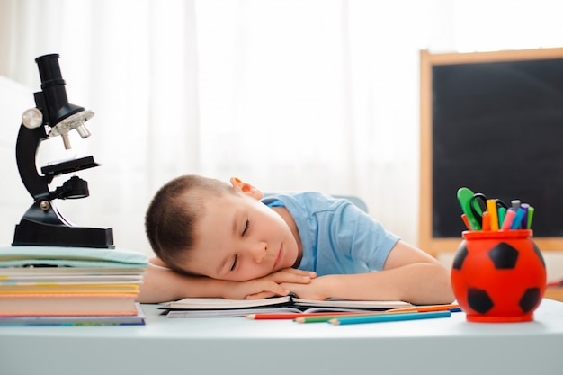 School boy sitting home classroom lying desk filled with books training material schoolchild sleeping