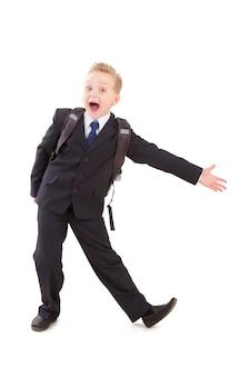 School boy in suit