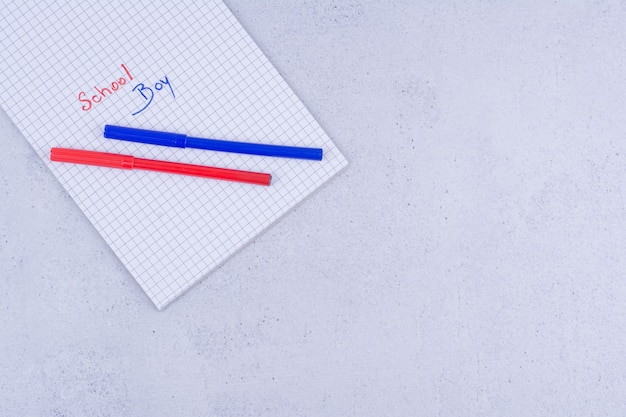 School boy writing on paper with blue and red colors.