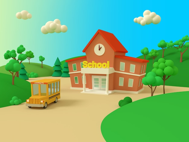School building and yellow bus with green summer beautiful landscape. back to school. volumetric style illustration. 3d render.