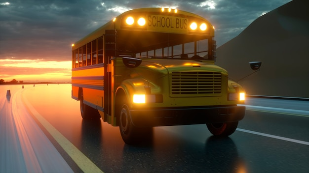 School bus driving on asphalt road highway at sunset