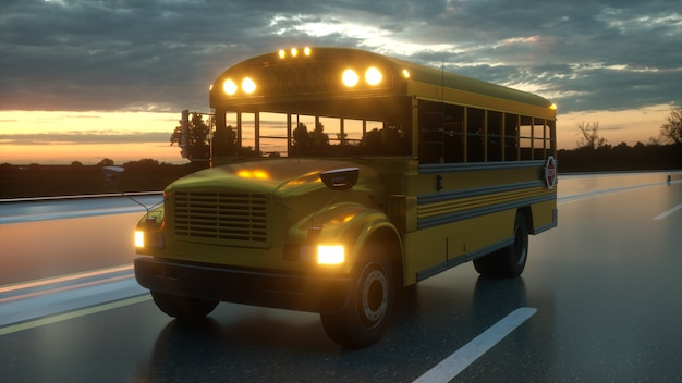 학교로 돌아가는 도로 개념에서 운전하는 스쿨 버스