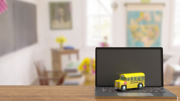 The school bus on laptop for e learning concept 3d rendering