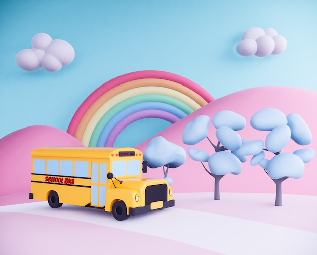 초현실적 인 배경에 스쿨 버스입니다. 3d 렌더링