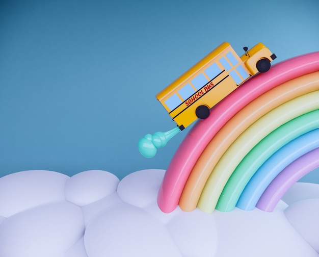 School bus on rainbow 3d render.