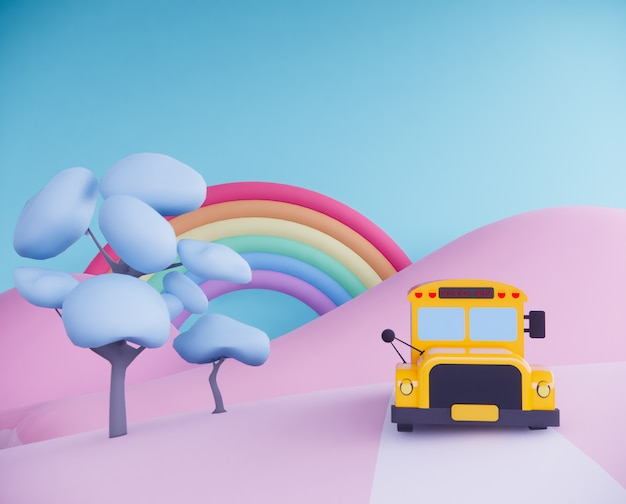 School bus on surreal background. 3d render