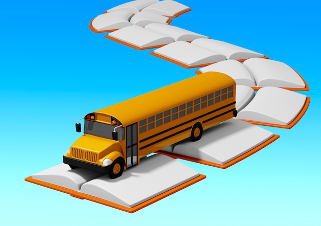 School bus traveling over road built of books. back to school concept