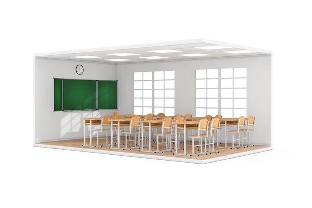 Интерьер школьного класса с большим окном, партами, стульями, классной доской и деревянным паркетным полом на белом фоне. 3d рендеринг