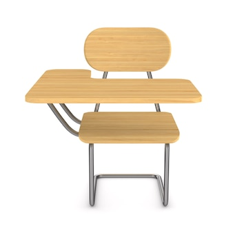 학교 책상과 의자. 격리 된 3d 렌더링