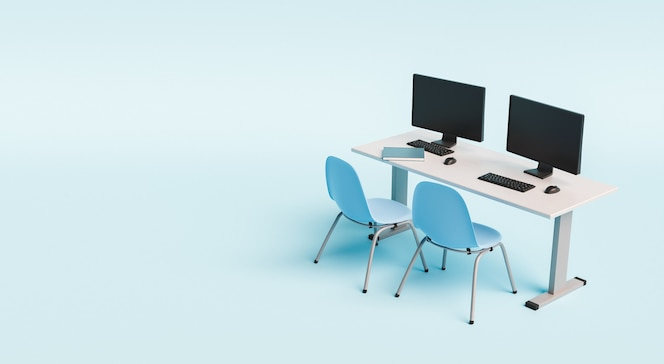 School desk with computers