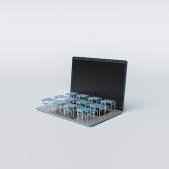 School desks on laptop