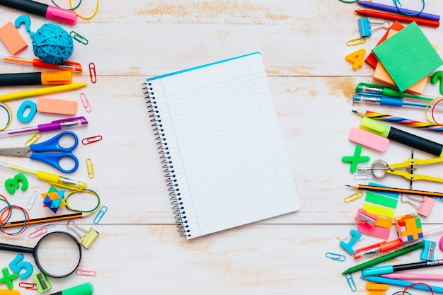 School education background with blank homework for copy space